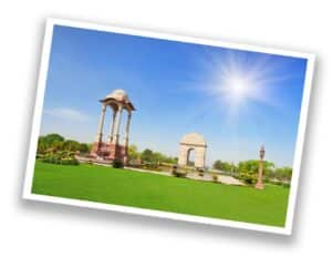 India Gate in sunny New Delhi, India