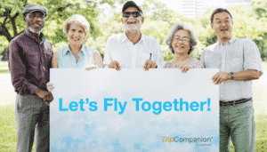 Parents and Seniors flying together with travel companions for seniors